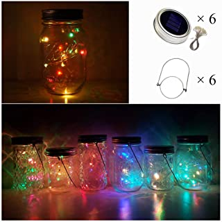 Cynzia Solar Mason Jar Lid Lights, 6 Pack 10 LED Twinkle Waterproof Fairy Star Firefly String Lamps with 6 Hangers (Jar Not Included), for Lantern Table Garden Wedding Party Decor (5 Colors)