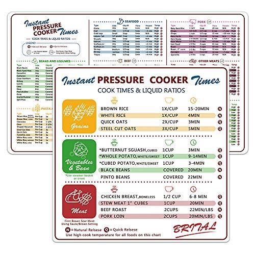 Brital Elektrischer Schnellkochtopf Cook Times Quick Reference Guide kompatibel mit Instant Pot, Instapot Zubehör Magnetische Cheat Sheet Magnet Set, Insta Pot Aufkleber und Aufkleber Alternative