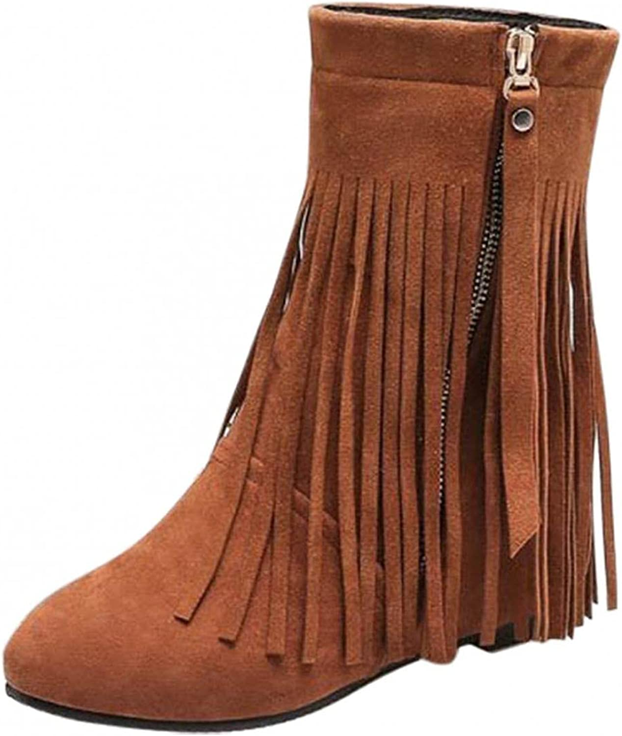 UOCUFY Platform outlet Max 84% OFF Boots for Women Round on Short Toe Zipper Slip