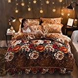 GAOXUE Housse Couette en avec Fermeture Éclair,Coral Fleece Double Bed Bedding Set,...
