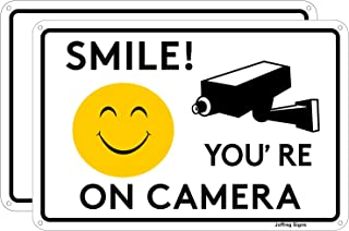 Joffreg Smile You're on Camera,Video Surveillance Sign,UV Protected,Fade Resistant,Indoor Or Outdoor Use,20 x 30 cm,Reflec...