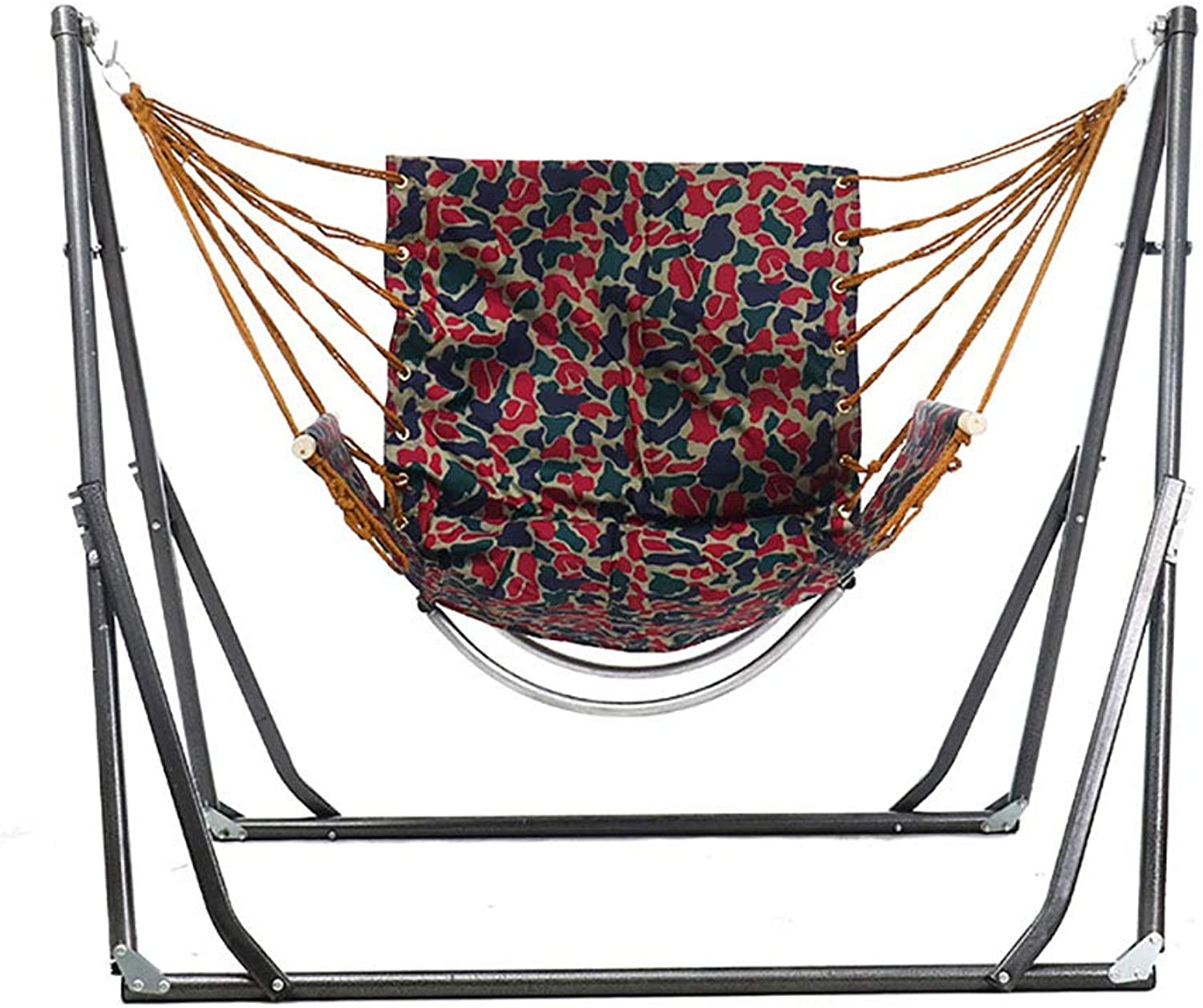 Single Cotton Hammock, Frame Hammock, Maximum Load Capacity of About 200 kg, Foldable Anti-ogreenurning Swing, Outdoor, Garden, Park, Beach, Camping