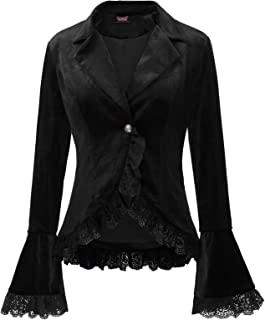 Women Victorian Coat Gothic Long Sleeve Lapel Collar Lace Trim Velvet Coat