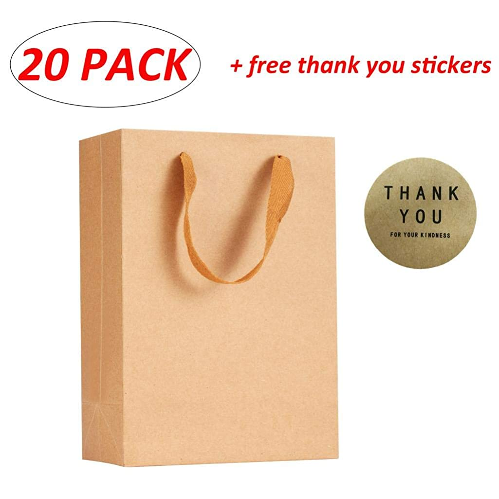 """Louise Maelys Kraft Paper Bags 20 PCS Kraft Gift Bags with Handles Great for Shopping, Birthday, Wedding, Party Bags, Retail Bag with Free Thank You Stickers 7.9"""" x 3.9"""" x11"""""""