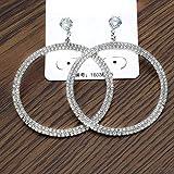 Arete Pendientes Colgantes de Diamantes de imitación Redondos Grandes para Mujeres Diámetro 4.5 cm Pendientes de Gota étnicos de Moda Joyas Joyas SilverColor