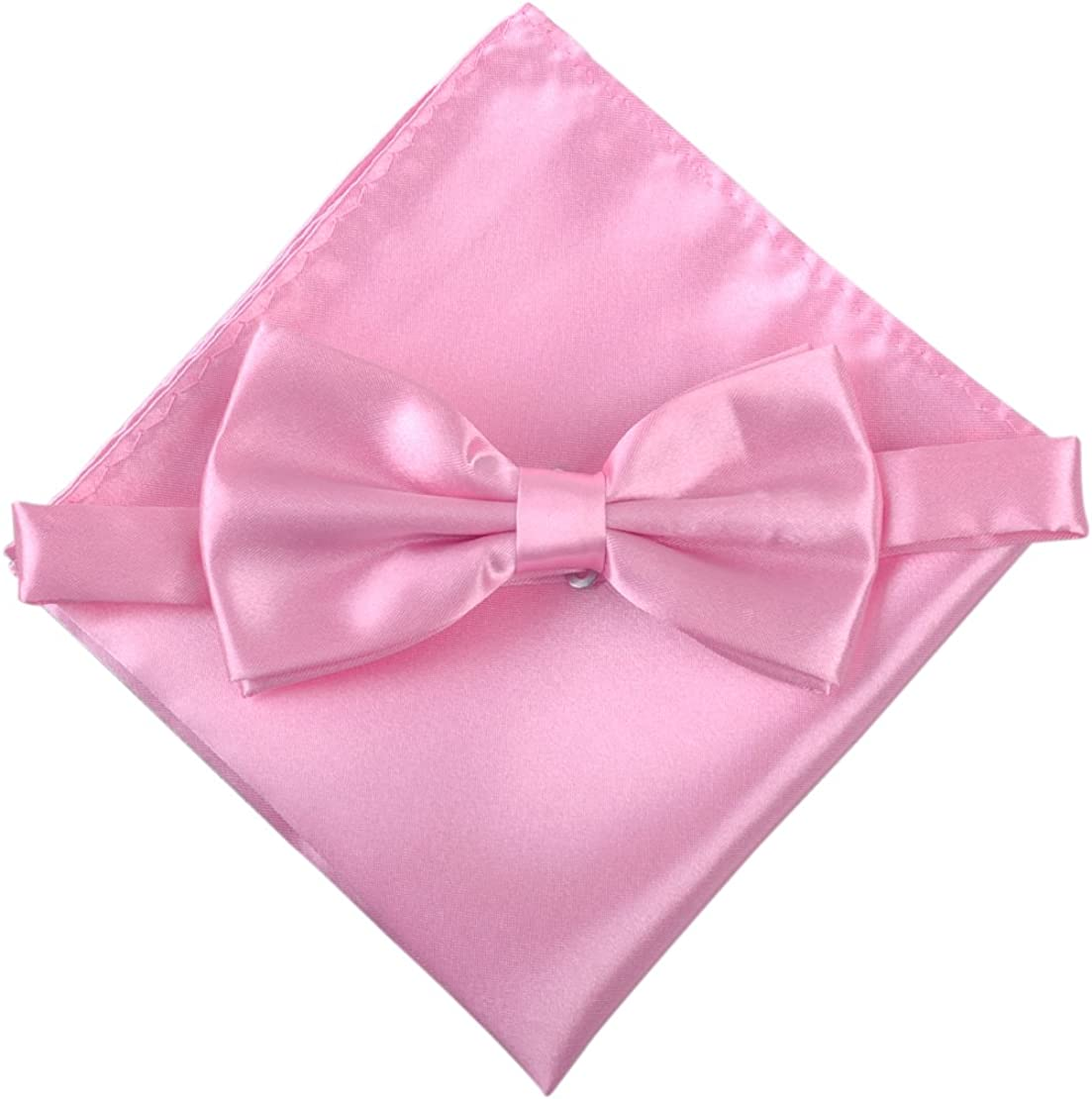Men's Solid Bowtie Necktie Pocket Square Set Business Wedding Party ciciTree