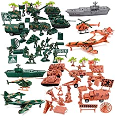 Liberty Imports Military Air Force Navy Deluxe Action Figures Army Men Soldiers Playset with Scaled Vehicles (73 pcs)