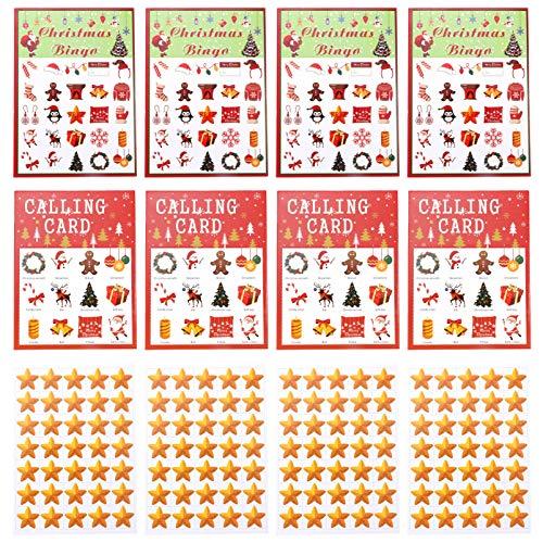 STOBOK 37Pcs Jogo de Bingo de Natal Feriado Natal Jogo de Cartas de Bingo Artesanato de Natal Que Estabelece Decorações de Festa para Crianças E Adultos Grandes Grupos (24 Jogadores)