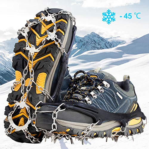 Crampons Ice Cleats Traction Snow Grips for Boots Shoes Women Men Kids Anti Slip 19 Stainless Steel Spikes Safe Protect for Hiking Fishing Walking Climbing Mountaineering (Black, Large)