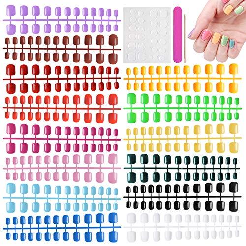 Kalolary 720PCS Unghie Finte Colorate, Artificiali Unghie Finte Unghie Acrilici Artificiali a Copertura Totale con 120 pezzi adesivo per colla per unghie, per decorazioni per unghie da donna