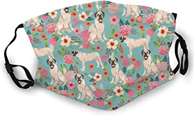 Harots Fashion Unisex Cloth Mask Washable and Reusable English Mastiff Florals Dog Breed Fabric Blue Face Protect Cover Balaclava Headbands for Adult Outdoors Sports