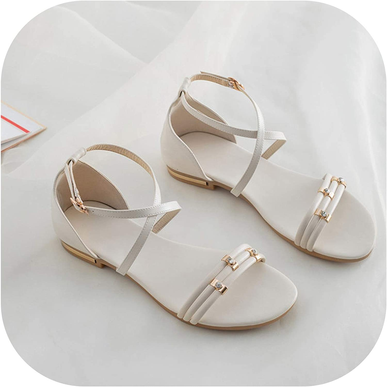 YuJi Women shoes Natural Genuine Leather Crystal Flat shoes Cow Leather Cross Strap Sandals