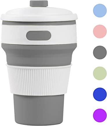 Prochive Collapsible Silicone Lightweight Coffee Cup, Reusable Folding Mug Travel Cup Leak Proof Water Bottle for Outdoor Camping Hiking & Office Home Use (Sky Gray)