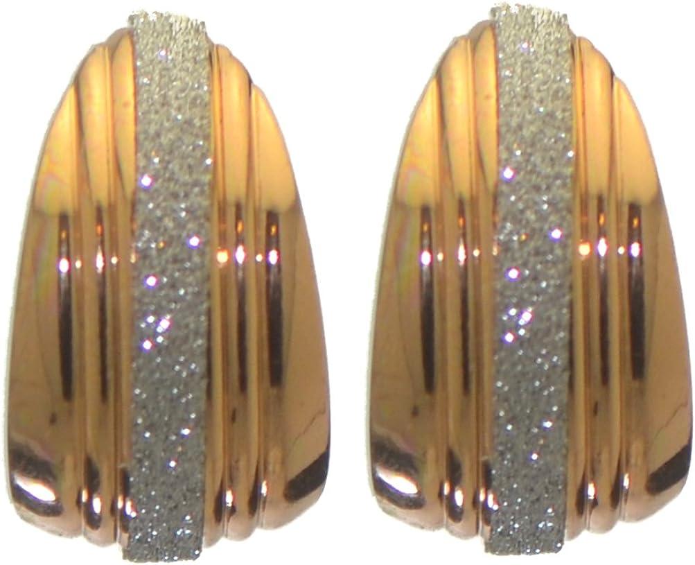IDELISA 23mm gold tone glitter hoop clip on earrings