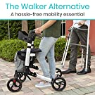 Vive Rollator Walker - Folding 4 Wheel Medical Rolling Walker with Seat & Bag - Mobility Aid for Adult, Senior, Elderly & Handicap - Aluminum Transport Chair (White) #4