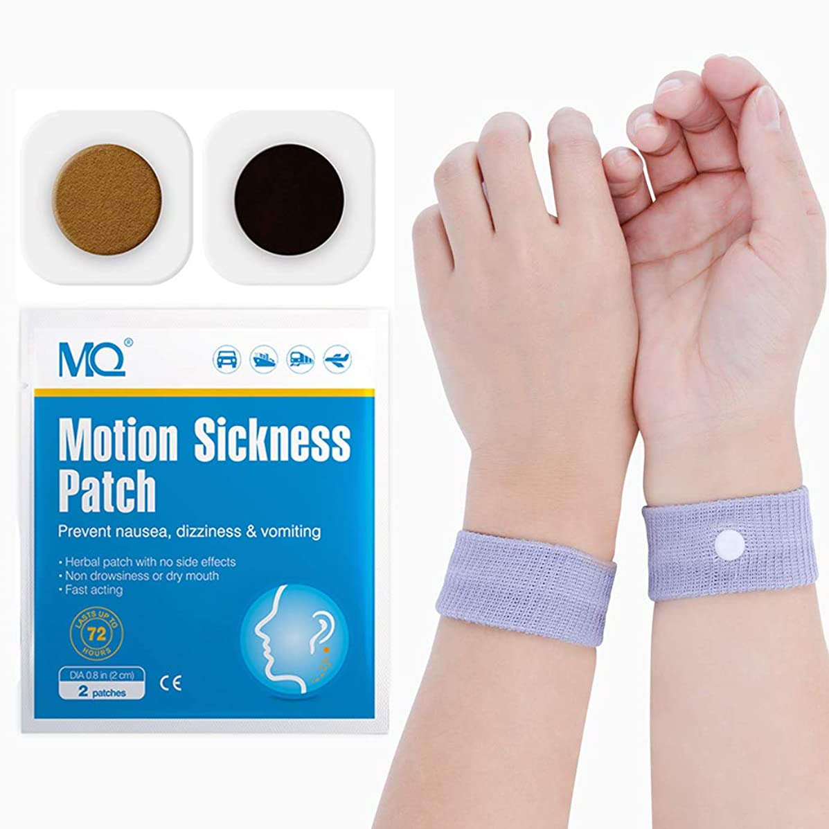 MQ 14ct Sea Sickness Patches with 1 Pair of Anti-Nausea Wristbands - Relieves Nausea, Dizziness & Vomiting from Motion Sickness, Fast Acting and No Side Effects