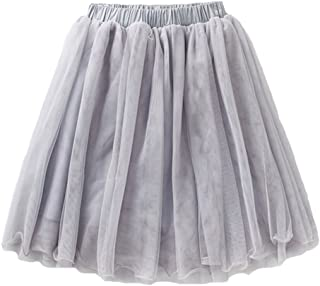Girls Casual 4-Layer Tulle Tutu Puff Mid-Calf Long Skirt Age 2-8, Beige Gray