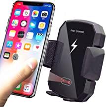 Wireless Car Charger & 10W Car Phone Holder, Qi Car Charger Mount Air Vent Automatic Clamping One-Hand Operation Easy Installation, Compatible with iPhone, Samsung Galaxy and All Qi Devices,Black