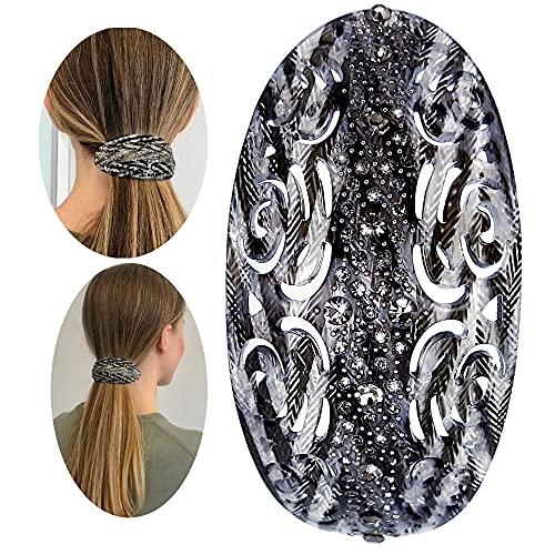 Haarspange, Damen, oval, Vintage, Strass, Schimmel, Anthrazit, Haarclip, schick, diskret, ein Haar-Accessoire, bequem zu bedienen
