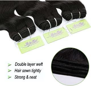 Indian Body Wave Hair Bundles, Re4U Virgin Human Hair Bundles Unprocessed Tangle Free Weave Extensions Double Weft (Natural Color 10