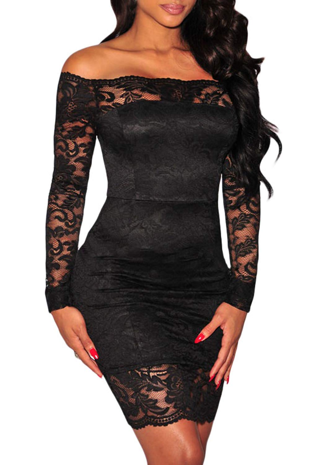 Party Dresses - Womens Sexy Criss Cross Off Shoulder Bodycon Party Club Midi Dress