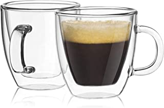 coffee mug double wall transparent made of borosilicate glass the cup size is suitable for a coffee maker modern design fo...