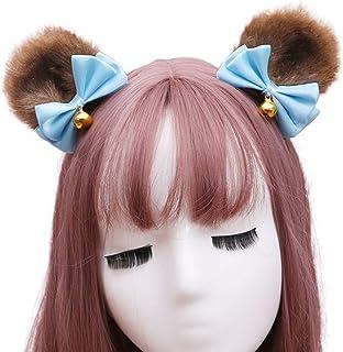 Beautiful crown 1 paia stile giapponese in finto pelliccia pelliccia orecchie clip per capelli, carino bowknot bell bell a...