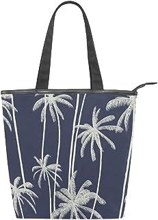 Mnsruu Große Handtasche aus Segeltuch, für den Strand, für Reisen, Einkaufen, Schultertasche, tropische Palmen, Marineblau, Sommerurlaub, Reißverschluss