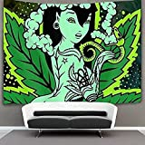 Zbzmm Fashion Beauty Green Psychedelic Weed Leaf Arazzo da Parete Hippie Art_200X150CM
