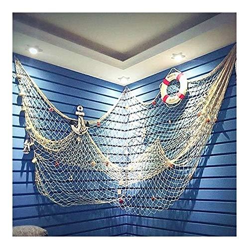 Brandless 1 * 2 M Baumwolle Handgemachte Zierfische Nets Mediterraner Stil Thema Bar Fischernetz-Dekor-Strand-Szene-Party-Dekoration (Color : White)