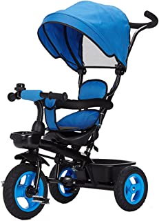 Xiaokeai Pushchairs Detachable Rotating Seat Reclining Backrest Kids Children Trike Tricycle Wning Suitable for 6 Months -5 Years Old Kids Prams (Color : Blue)
