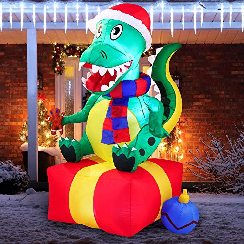 Joiedomi Christmas Inflatable Decoration 6ft Dinosaur Gift Box Inflatable with Build-in LEDs Blow Up Inflatables for Xmas Party Indoor, Outdoor, Yard, Garden, Lawn, Winter Decor