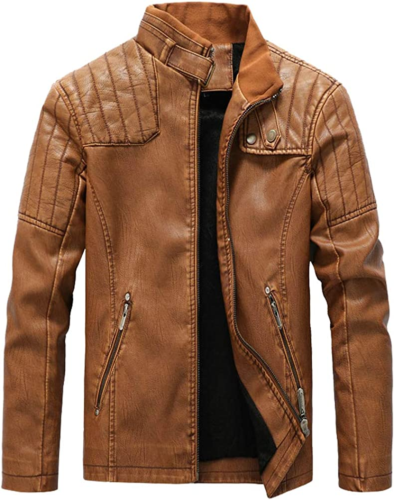 FTCayanz Men's Faux Genuine Free Shipping Leather Jacket Slim Stand Collar Moto Fit PU Fixed price for sale