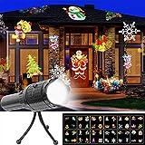 youfenghui Proiettore di Luci Natalizie A LED e Torcia, 12 Luci per Proiettori con Diapositive Modificabili con Treppiede - per Natale, Vacanze, Matrimonio, Giardino e Festa (Batteria)