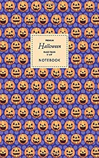 Halloween Notebook - Ruled Pages - 5x8 - Premium: (Blue Edition) Fun Halloween Jack o Lantern notebook 96 ruled/lined page...