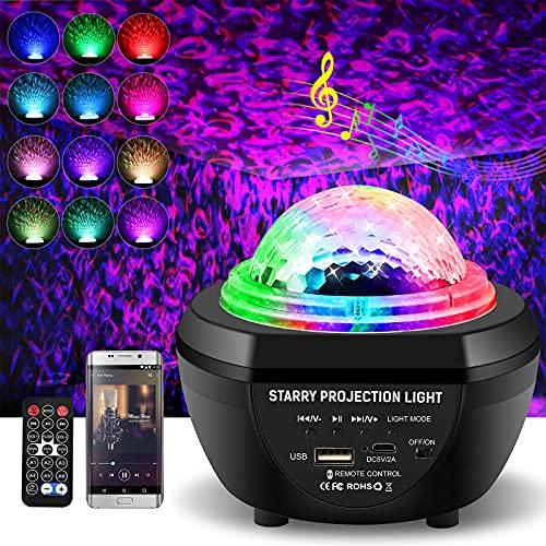 LED Sternenhimmel Projektor Lampe mit Fernbedienung, 30 Modi Sternenprojektor, Bluetooth Sternhimmel Protektor 360°Drehen 3 Helligkeitsstufen, Wasserwellen Nachtlicht mit Timer für Baby Kinder Party