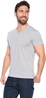 Men's Lightweight 100% Organic Cotton V-Neck Tshirt Semi-Fitted - Made in USA