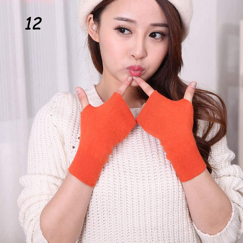 AIWO-LPT Winter Gloves Winter Cashmere Knit Half-Finger Short Gloves Solid Color Elastic Glove Thick Warm Mittens (Color : 12 Orange, Size : Medium)