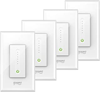 Gosund Smart Dimmer Switch, Smart WiFi Light Switch Dimmable Works with Alexa, Google Home, Remote Control & Timer, Fan Speed Control, Single-Pole,Neutral Wire Required, No Hub Required(4 Pack)