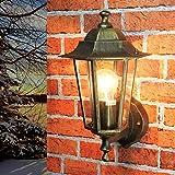 Lámpara de pared nostálgica para exterior PARÍS en Oro Antiguo IP44 E27 Lámpara de...