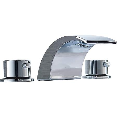 Bathfinesse Brushed Nickel 8-16 Inch 2 Handle  Widespread Bathroom Sink Faucet