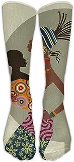 wwoman, Afroamericanas Madre Niño Tubo Calcetines de hombre Clásicos para hombres Rodillos Calcetines altos Deporte Calcetín largo