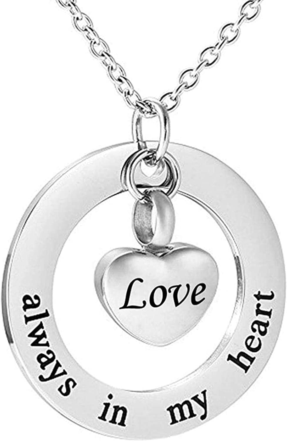 Ashes Chain Cremation Memorial Cremation Jewelry for Ashes - Always in My Heart - Memorial Keepsake Heart Necklace Pendant
