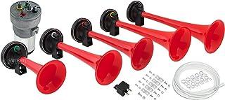 Vixen Horns Loud 5/Five Trumpet La Cucaracha Musical/Music Sound Air Horn with Compressor Full Complete System/Kit Red 12V VXH6803R