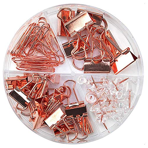 Paper Clips and Binder Clips Push Pins Set and Holder, Non-Skid Map Tacks Thumbtacks Clips Kits with Container for Office School Home Desk Supplies, 92 PCS Assorted Sizes (Rose Gold)