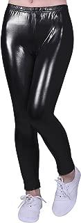 Girls Shiny Wet Look Leggings Kids Liquid Metallic Footless Tights (4T-12)