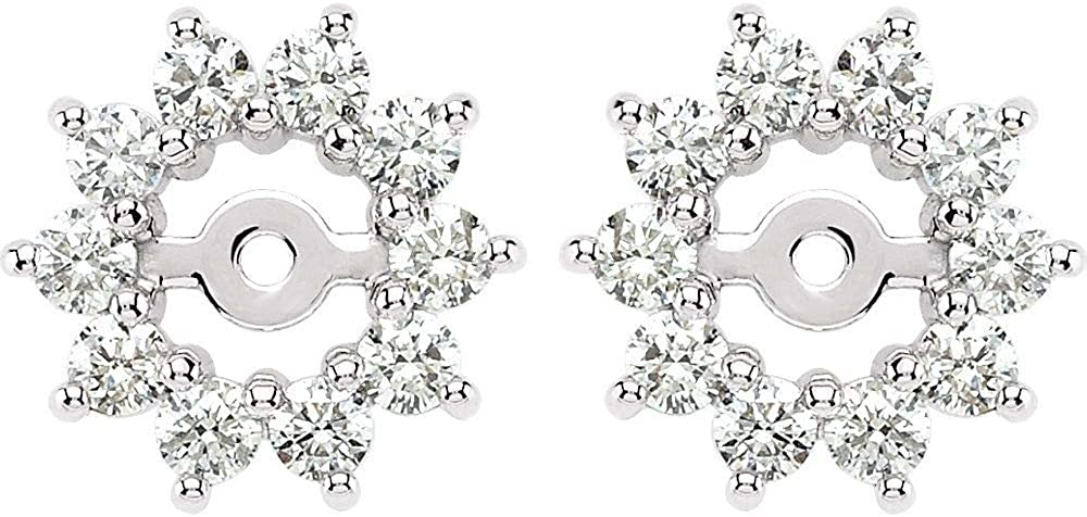 Solid 14k White Gold 5/8 Cttw Diamond Earring Jackets 3.7mm ID (.63 Cttw)