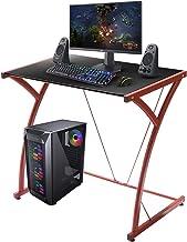 TOPLIVING Escritorio Gamer Individual Escritorio para Niños y Adultos Home Office Escritorio Economico Moderno (Rojo)