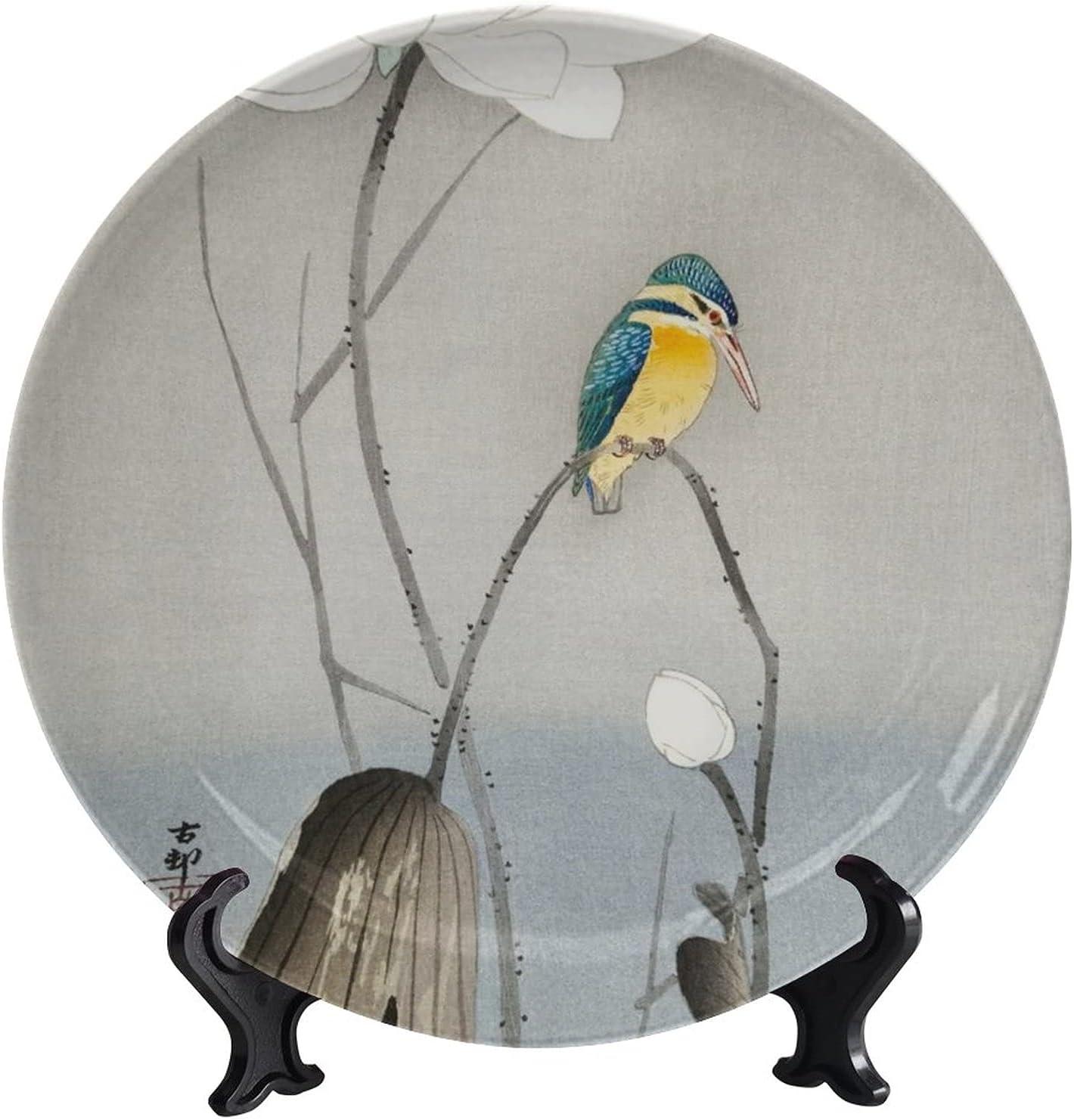 wonderr Kingfisher on Lotus Flower Direct stock discount Ja Decorative Plates Max 44% OFF Ceramic