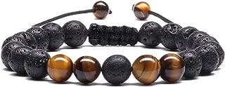 MengPa Mens Women 8mm Lava Stone Rock Bracelet Aromatherapy Anxiety Essential Oil Diffuser Yoga Bangle